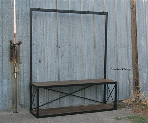 bench seat with coat rack buy a handmade vintage industrial coat rack with seat