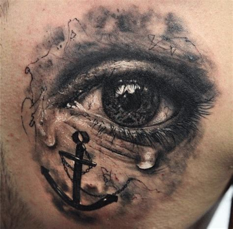 crying tattoo designs black ink eye with anchor design by seunghyun