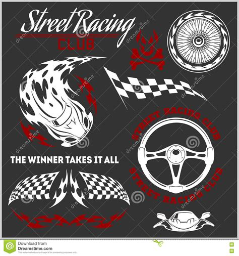 street racing design elements vector car racing badges and elements graphic design for t shirt