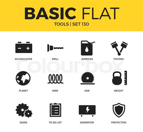 flat design font generator basic set of wire gears and generator icons modern flat