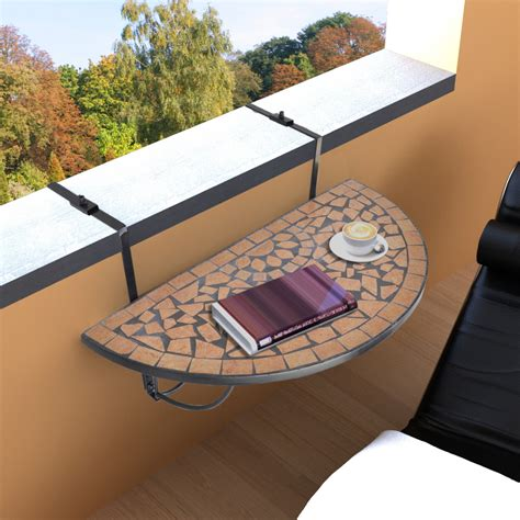Hanging Patio Table Mosaic Balcony Table Hanging Semi Circular Terracotta Patio Terrace Coffee Table Ebay