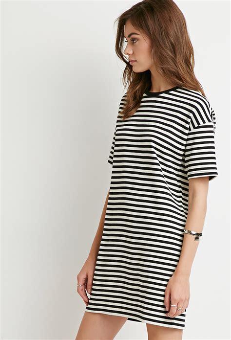 Striped T Shirt Dress forever 21 striped t shirt dress in black lyst