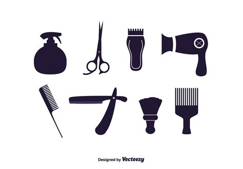 twist hairstyle tools clipart icons vector set of barber tools free vector