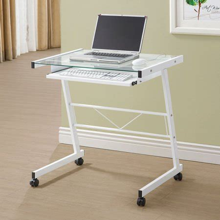 White Company Desk by Coaster Company Mobile Computer Desk With Tempered Glass
