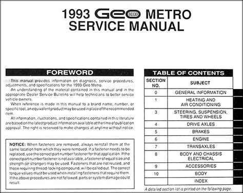 car maintenance manuals 1993 geo metro user handbook 1993 geo metro repair shop manual original