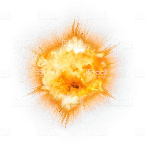 Realistic Fiery Explosion Over A White Background Stock ... Explosion White Background