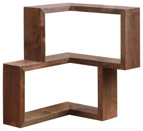 franklin corner shelf walnut modern display and wall