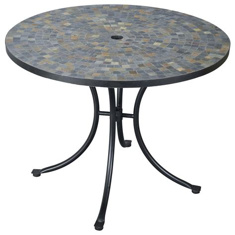 Stone Harbor Slate Tile Top Outdoor Table 224986 Patio Patio Tables