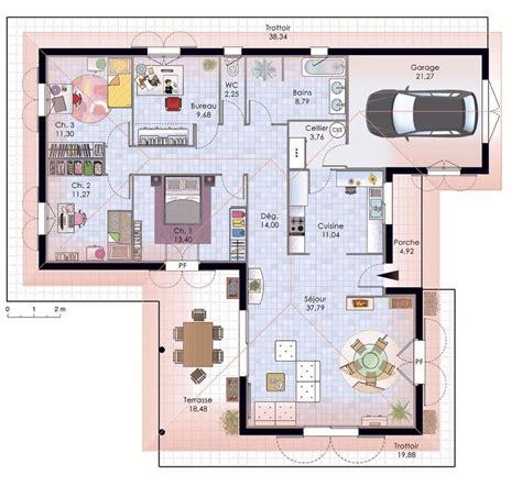 chambre feng shui plan plan maison contemporaine plain pied plan maison