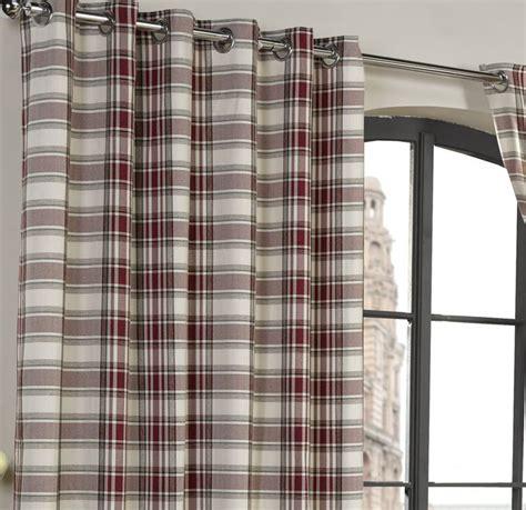 cream tartan curtains tartan check eyelet lined curtains readymade ringtop