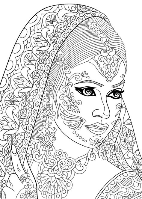 indian themed coloring pages раскраски антистресс девушки