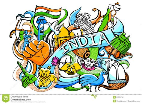 indian doodle doodle on india concept stock vector illustration of