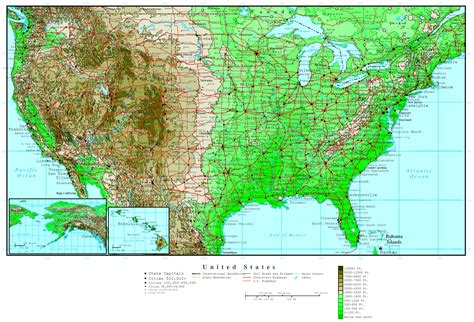 map of usa with states united states elevation map