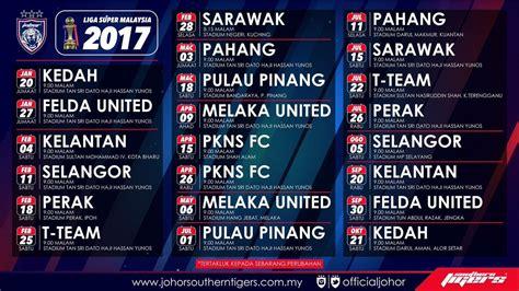 liga super malaysia johorsoutherntigers on twitter quot jadual perlawanan liga