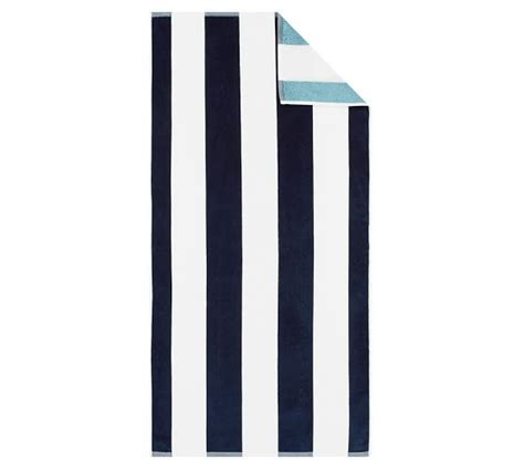 seabreeze awnings reversible awning stripe beach towel navy seabreeze pottery barn