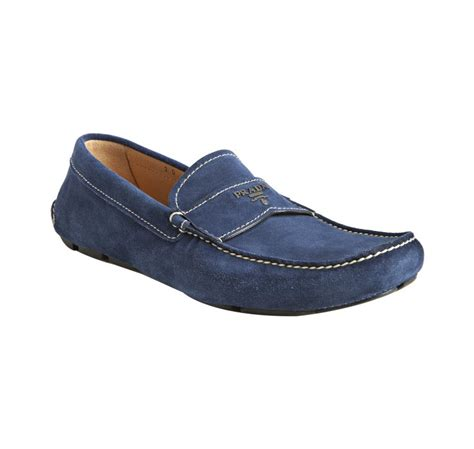 blue suede loafers for lyst prada blue suede logo moc loafers in blue for