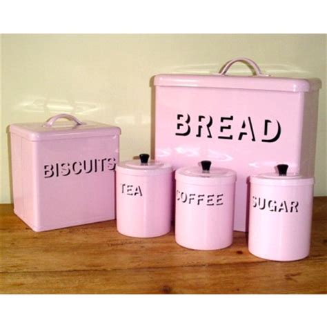 Old Fashioned Kitchen Canisters shabby chic pink enamel bread bin set kitchen accessorie