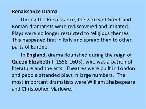 themes of english renaissance drama introduction to drama