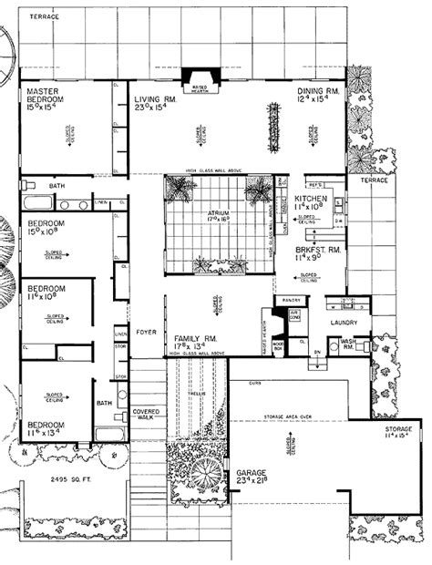 atrium ranch floor plans contemporary house plan with central atrium 0890w 1st