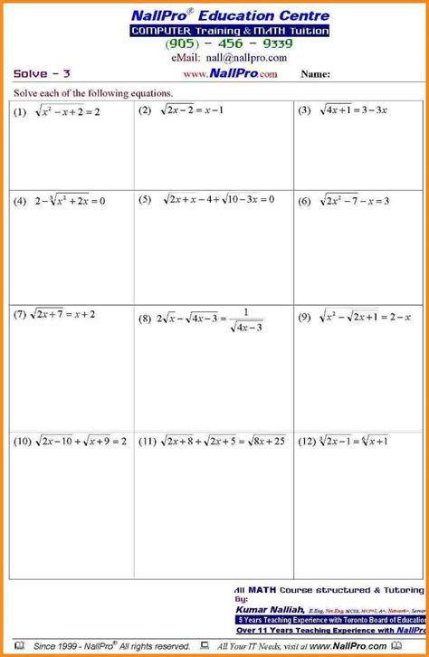 Free Algebra Lessons And Worksheets by 11th Grade Math Worksheets Geersc