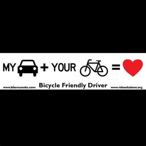 Biker Friendly Sticker by Free Bicycle Friendly Driver Bumper Sticker From Bike