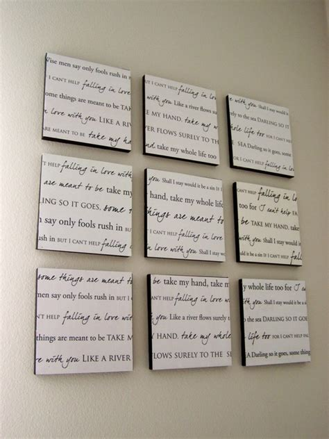 Wedding Song Wall by Memorializing The Lyrics From Our Wedding Song Into Wall