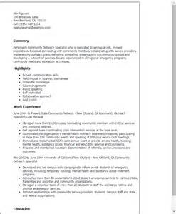 Outreach Specialist Sle Resume by Professional Community Outreach Specialist Templates To Showcase Your Talent Myperfectresume