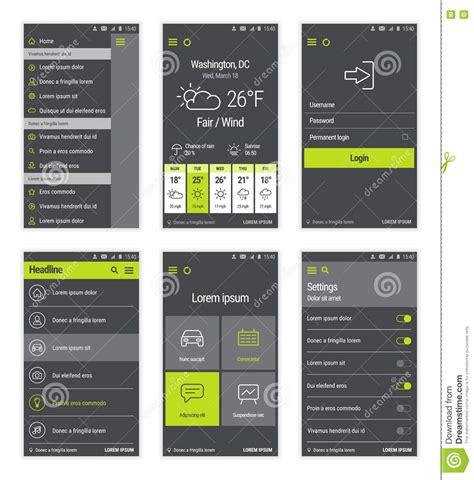 mobile user interface design green set of mobile user interface design vector