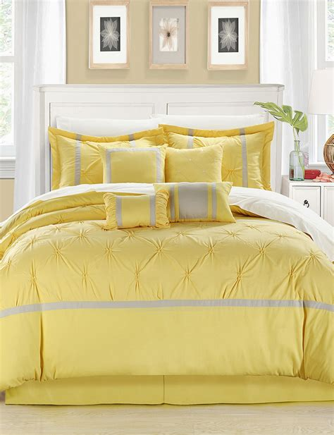chic home design comforter sets chic home design 8 pc vermont yellow gray brushed