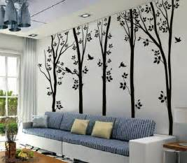 art stickers tree decor decals birches tree with flying birds wall sticker home decorating photo