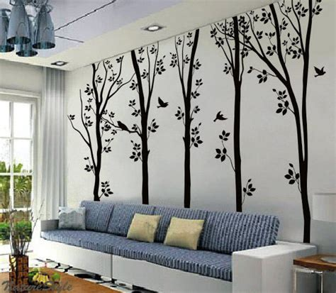 5 birches tree with flying birds wall sticker home