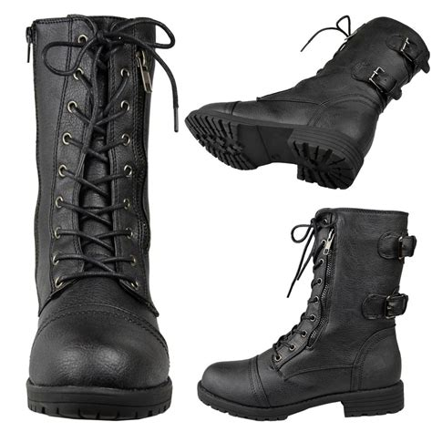 womens faux leather lace up zipper mid calf combat
