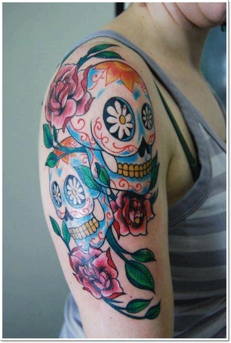 book of life tattoo colors sugar skull on half sleeve