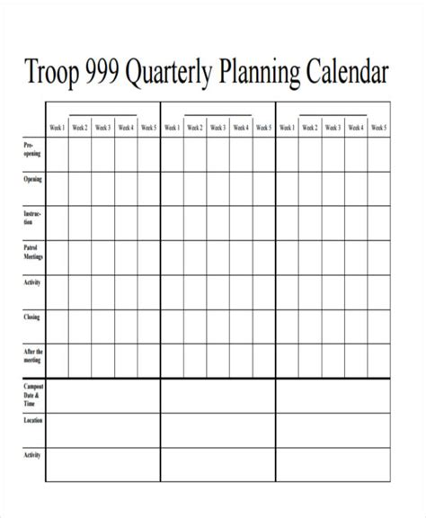 quarterly business plan template 7 quarterly calendar templates word pdf free premium templates