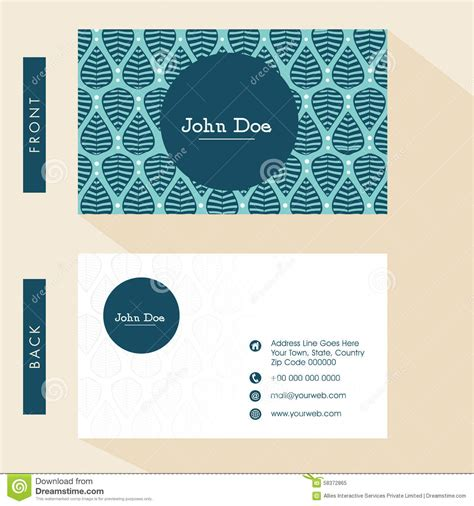 business card layout template for front and back printing floral business card design stock illustration