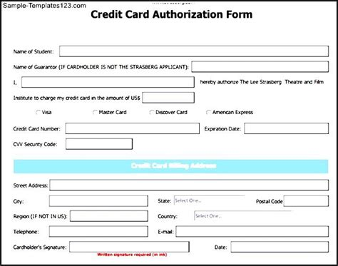 Credit Card Information Template Credit Card Authorization Form Template Sle Templates