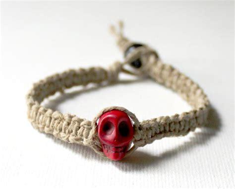Hemp Knot - square knot hemp bracelet with skull bead by eggmonkey