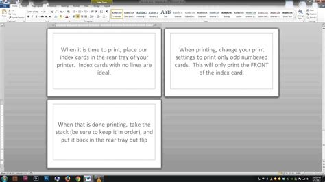 Note Index Cards Word Template Youtube Microsoft Word Note Card Template
