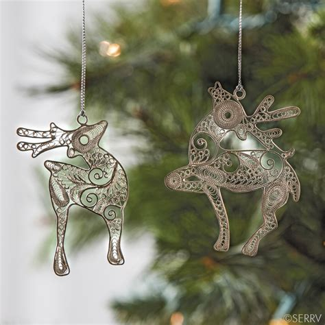 reindeer silver diamond christmas ornament 37660 alt