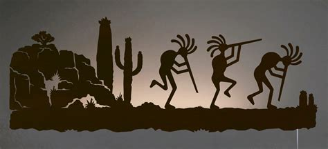 Home Decor Catalogue kokopelli in desert southwest scene backlit wall art 42 inch