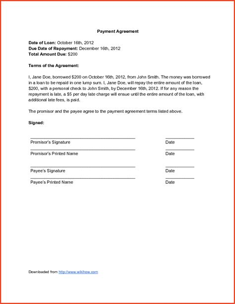 Sle Letter Of Agreement To Pay Back Money Payment Agreement Contract Proposalsheet