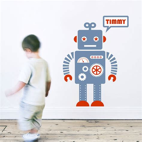 wall stickers personalised personalised robot wall sticker by koko
