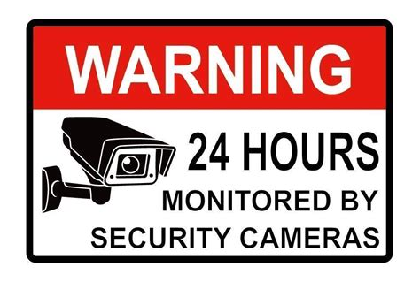 2pcs warning signs 24 hour surveillance security