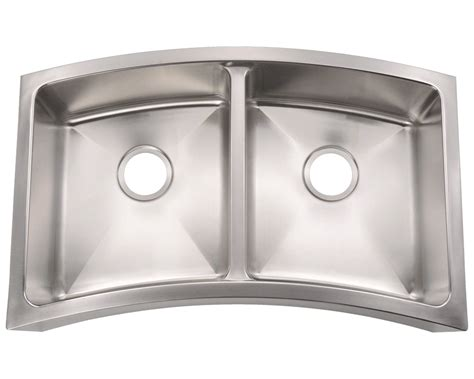 404 Curved Double Bowl Apron Stainless Steel Kitchen Sink Curved Kitchen Sink