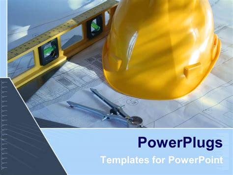 Powerpoint Template Architecture Blue Prints With Construction Instruments And Yellow Hard Hat Powerpoint Templates Building Construction