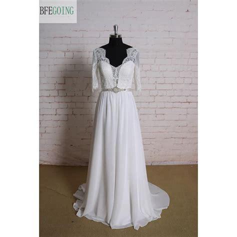 aliexpress buy white chiffon lace a line wedding dress floor length court v neck