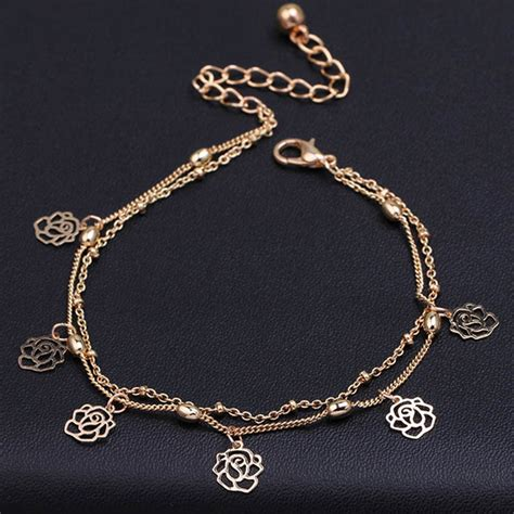 how to make leg chain jewelry rows ankle hollow flower chain anklet foot leg