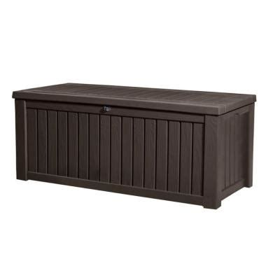patio box home depot keter rockwood 150 gal deck box in brown 214301 the home depot