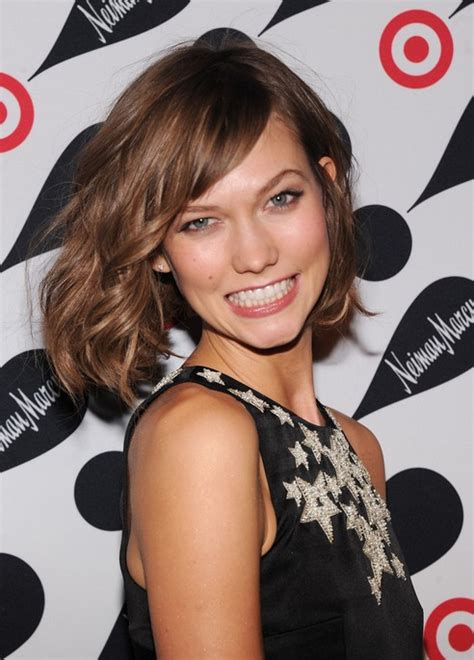 karlie kloss hair color karlie kloss short wavy bob hairstyle with bangs for 2014