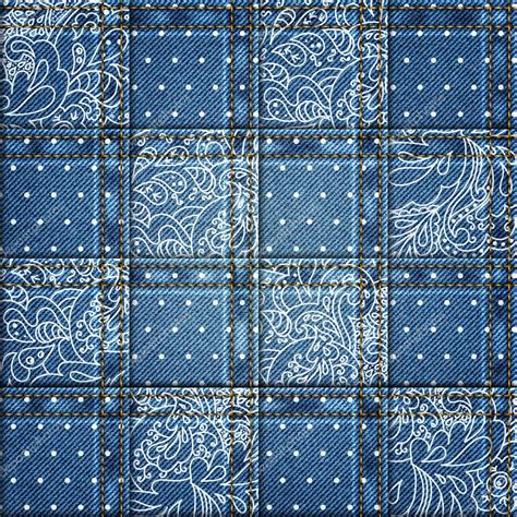 Patchwork Denim Fabric - denim background with ornate floral pattern seamless